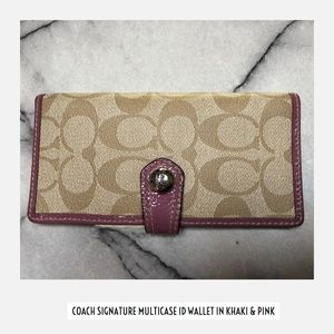 Coach Slim Signature Credit Card Checkbook Wallet